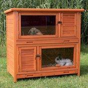 Trixie 2-In-1 Glazed Pine Rabbit Hutch With Insulation