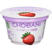 Chobani Simply 100 Strawberry Blended Non-Fat Greek Yogurt