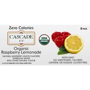 Cascade Ice Sparkling Water, Organic, Raspberry Lemonade, 8 Pack