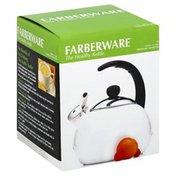 Farberware Tea Kettle, Whisling, Luna, White, 2.5 Quart