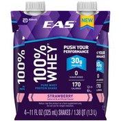 EAS Strawberry EAS 100% Whey Protein Shake Strawberry Ready-to-Drink Bottles