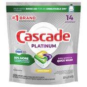Cascade Platinum Actionpacs Dishwasher Detergent Pods, Lemon