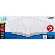 Feit Electric Light Bulbs, LED, 65 Watts, 12 Value Pack