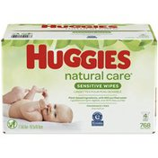 Huggies Natural Care Sensitive Baby Wipes, Unscented, 4 Refill Packs (