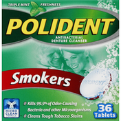 Polident Denture Cleanser, Antibacterial, Smokers, Tablets, Triple Mint Freshness