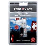 Swiss Gear Combination Lock, 3-Dial, Travel Sentry, Black