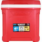 Igloo Cooler, Roller, Red, 60 Quart