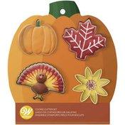 Wilton Fall Cookie Cutters Set, 4-Piece (Pumpkin, Maple Leaf, Turkey, Flower)