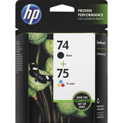 HP Ink Cartridges, Black 74, Tri-Color 75, Combo-Pack