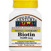 21st Century Foods Biotin, Ultra Potency, 10,000 mcg, Tablets