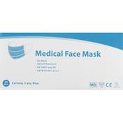 Winner Medical Medical Face Mask, Earloop, 3-Ply, Blue