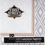 First Street Napkins, Luncheon, Majestic Metallics, 3-Ply