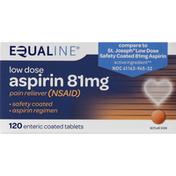 Equaline Aspirin, Low Dose, 81 mg, Enteric Coated Tablets
