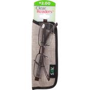 Clear Readers Eyeglasses, +2.00