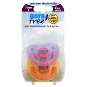 Born Free Pacifier, Orthodontic Silicone, Stage 2, 6+ Months
