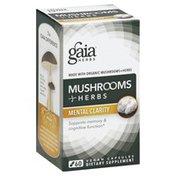 Gaia Herbs Mushrooms Herbs, Mental Clarity, Vegan Capsules