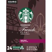 Starbucks French Roast Dark Roast Ground Coffee K-Cup Pods