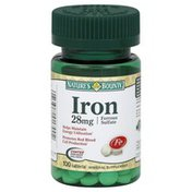 Nature's Bounty Iron, Ferrous Sulfate, 28 mg, Tablets