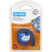 Dymo Labels Refill, White, Plastic, 1/2 Inch