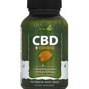 Irwin Naturals CBD + Turmeric, Liquid Soft-Gels