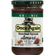 Once Again Hazelnut Spread, Organic, Amore, with Cocoa & Milk