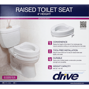 Drive Toilet Seat, Raised, 4 Inches Height