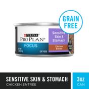 Purina Pro Plan Grain Free Wet Cat Food Pate, Sensitive Skin & Stomach Chicken Entree