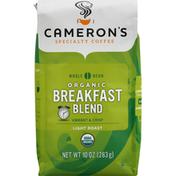 Camerons Coffee, Organic, Whole Bean, Light Roast, Breakfast Blend