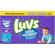 Luvs Super Absorbent Leakguards Newborn Diapers Size 2 124 count  Diapers