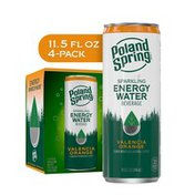 Poland spring Sparkling Energy Water Beverage Valencia Orange Flavor