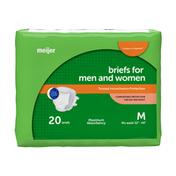 Meijer Incontinence Unisex Briefs, Size Medium