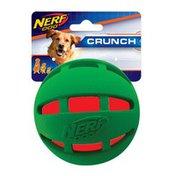 "NERF DOG 3.8"" Green & White Holiday Rubber Checker Crunch Ball Dog Toy"