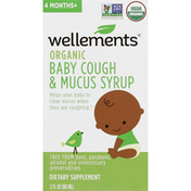Wellements Baby Cough & Mucus Syrup, Organic, 4 Months+