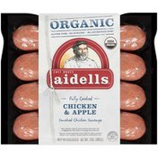 Aidells Organic Smoked Chicken Sausage, Chicken & Apple, 12 oz. (4 Fully Cooked