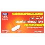 Rite Aid Pharmacy Acetaminophen, Extra Strength, 500 mg, Caplets, 24 caplets