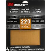 3M Sanding Sheets, Advanced, No-Slip Grip, 220, Very Fine Finishes