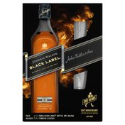 Johnnie Walker Black Label Blended Scotch Whisky with Two Premium Branded Tumbler Glasses