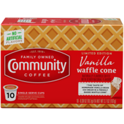 Community Coffee Vanilla Waffle Cone Coffee Pods for Keurig K-cups