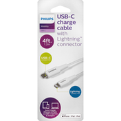 Philips Charge Cable with Lightning Connector, USB-C, 4 Feet
