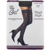 On the Go! Thigh High Lace Top Hose Queen Black