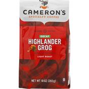 Camerons Coffee, Ground, Light Roast, Highlander Grog, Decaf
