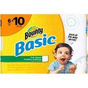 Bounty Basic Bounty Basic Paper Towels, Print, 6 Mega Rolls = 10 Regular Rolls Towels/Napkins