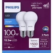 Philips Light Bulbs, LED, Daylight, 12.5 Watts, 2 Pack