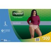 Depend Underwear, Maximum Absorbency, Large, Women