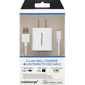 Mobilcharge Wall Charger, + Lightning to USB Cable
