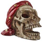 Imagitarium Medium White Pirate Skull With Bandana Aquatic Decor