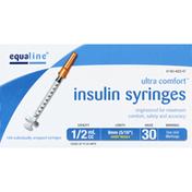 Equaline Insulin Syringes, Short Needle, 1/2 cc