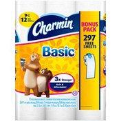 Charmin Basic Charmin Basic 12 Bulk Bonus Rolls  Toilet Tissue
