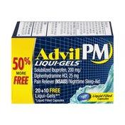 Advil PM Liqui-Gel Pain Reliever Nighttime Sleep-Aid Liquid Filled Capsules - 30 CT
