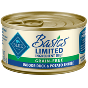 Blue Buffalo Basics Limited Ingredient Diet, Grain Free Natural Adult Pate Wet Cat Food, Indoor Duck